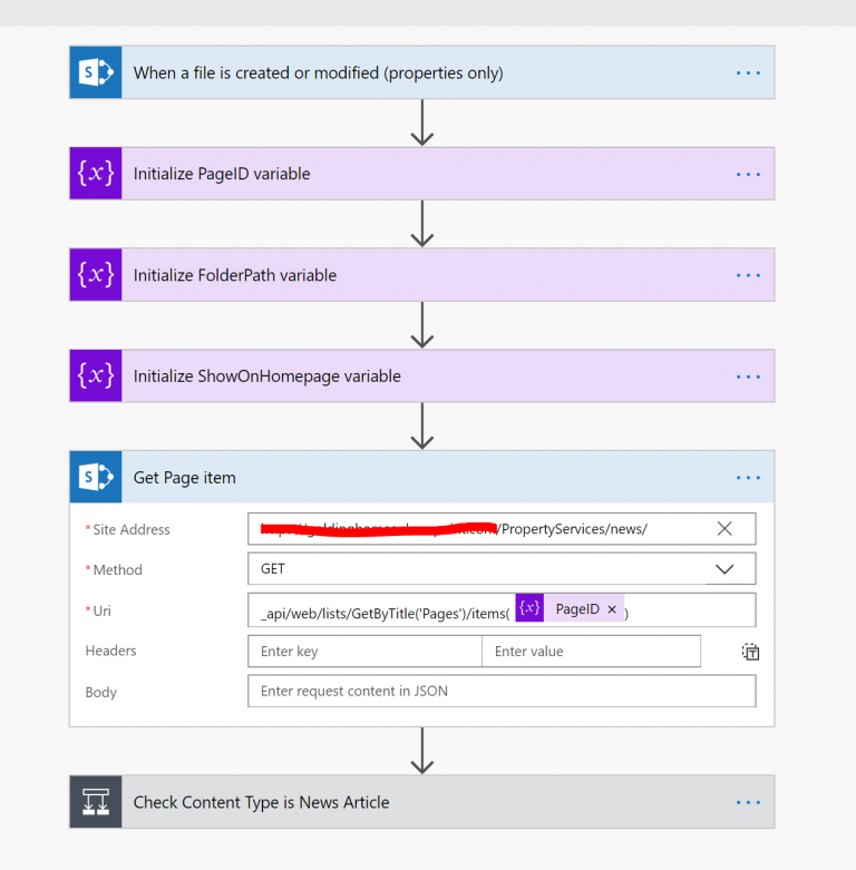 Publishing page rollup approval using Microsoft Flow
