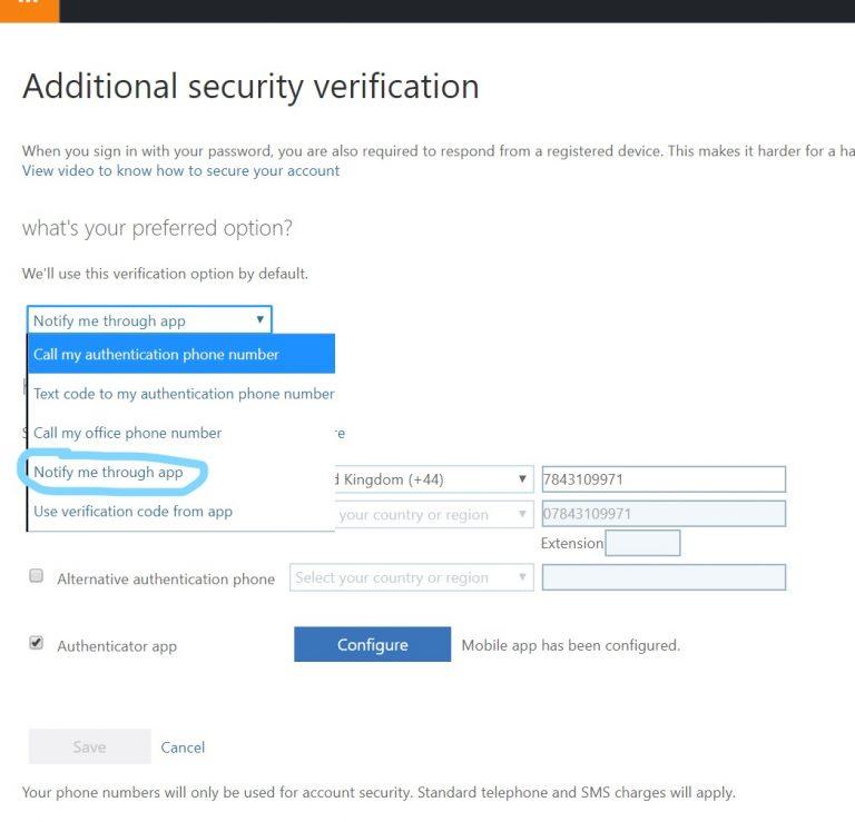 MFA Additional security verification settings