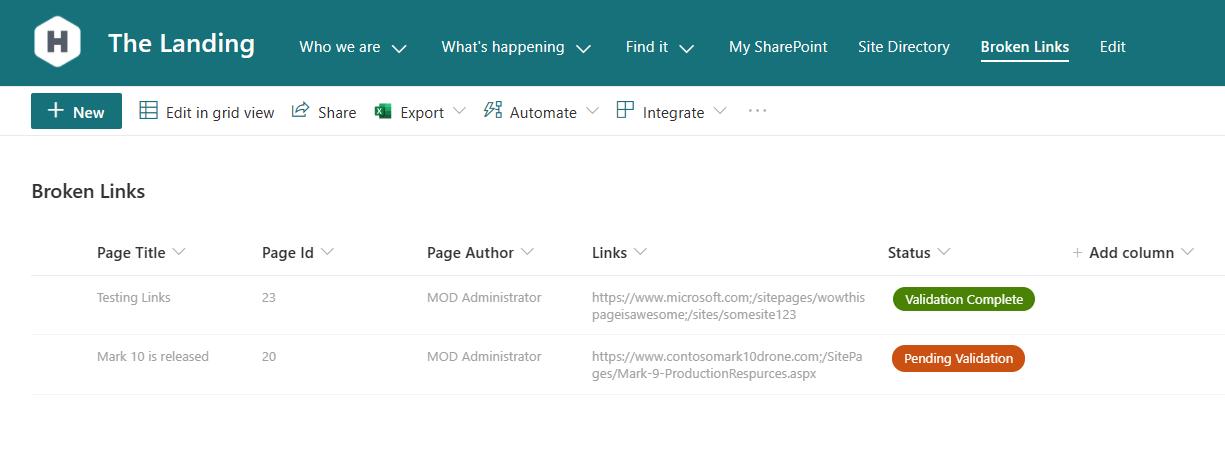 Screenshot of broken links list.