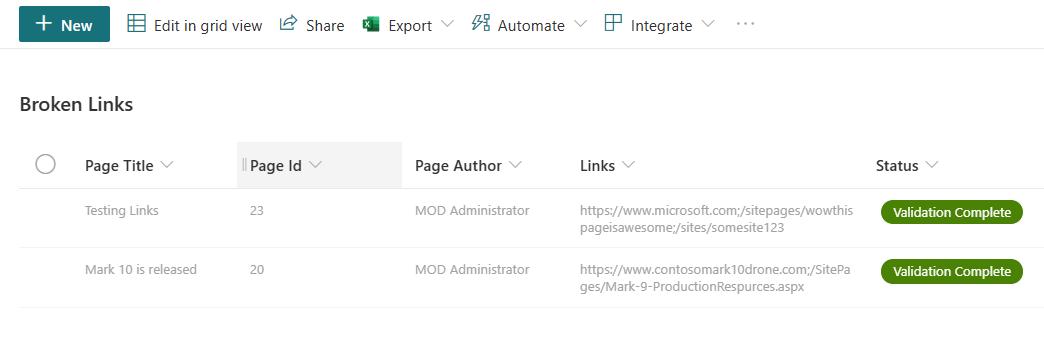 Screenshot of the updated broken link list item.